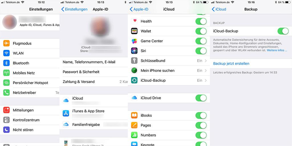 iCloud-Backup verwalten und checken