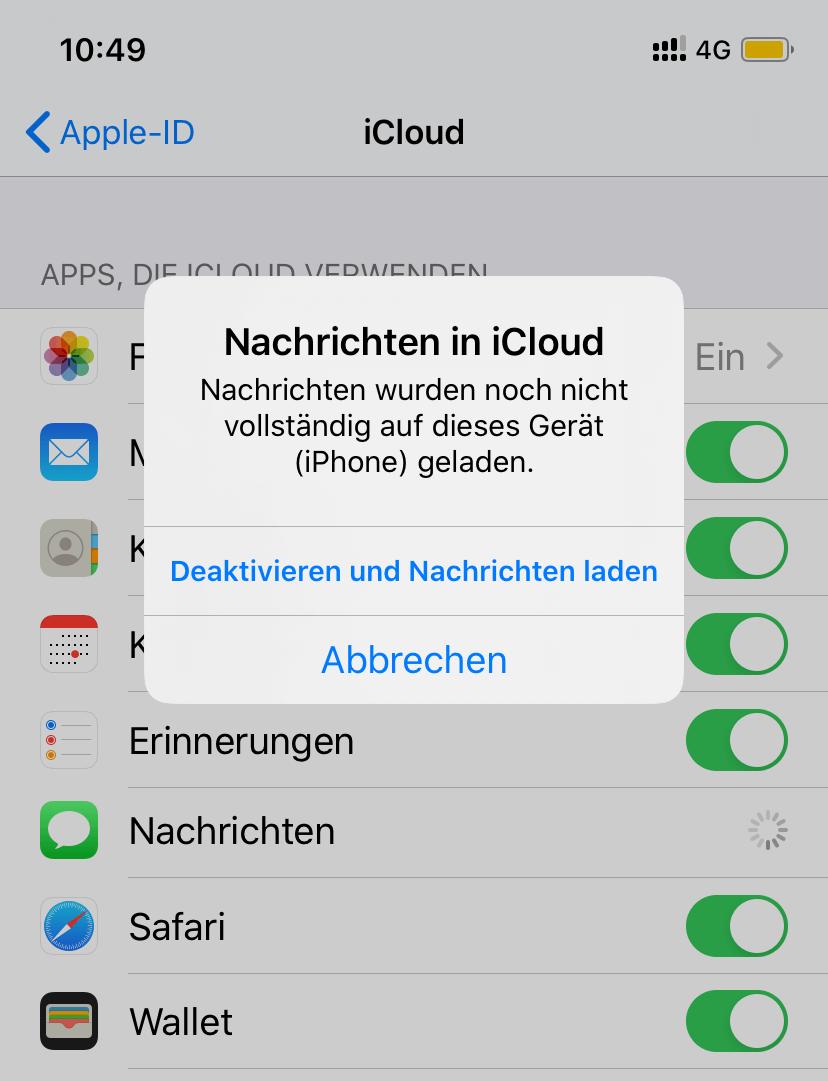 iCloud deaktivieren und Nachrichten laden