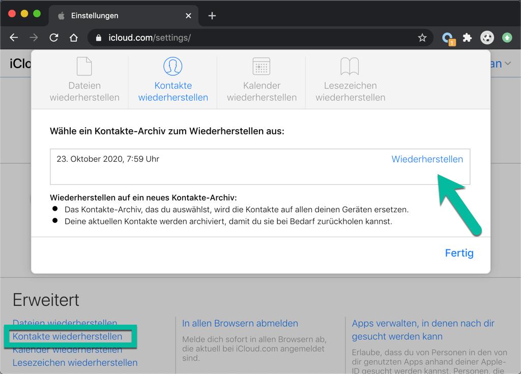 Kontakte aus iCloud wiederherstellen