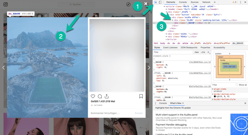 Instagram Foto HTML-Code finden