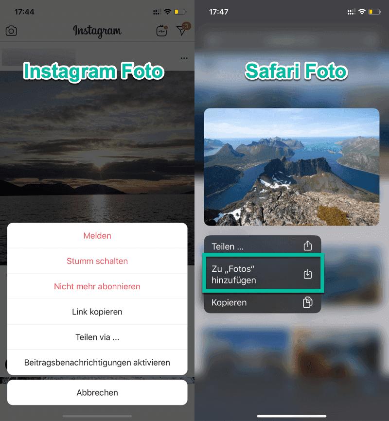 Bild speichern Instagram vs Safari