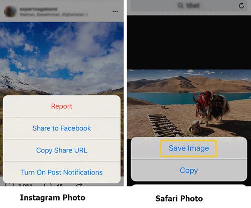 Instagram Fotos im Safari speichern