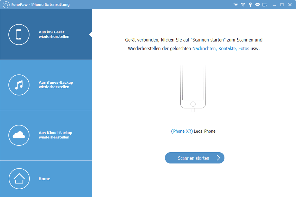 iPhone Daten scannen starten