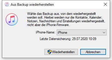 Iphone se mit backup wiederherstellen geht nicht