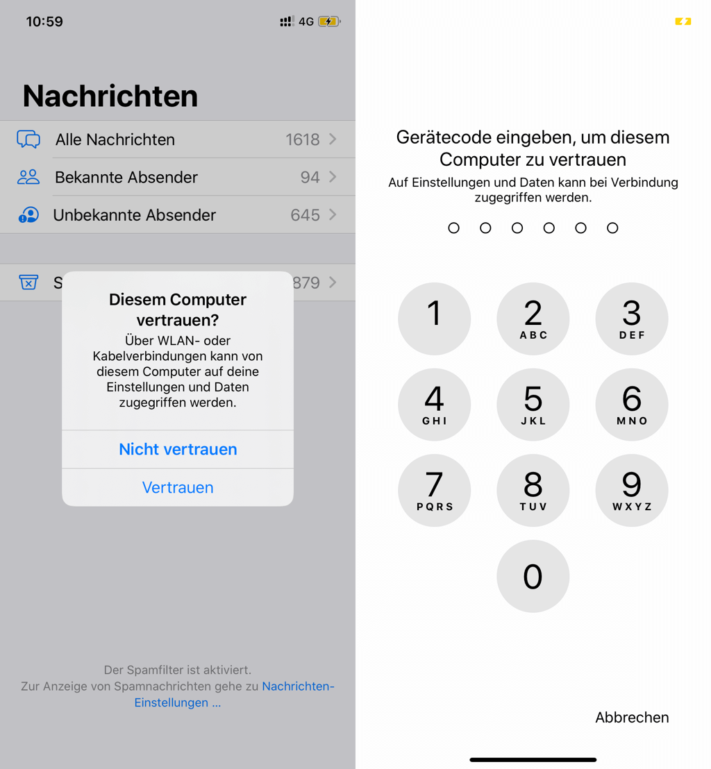 iPhone Diesem Computer vertrauen