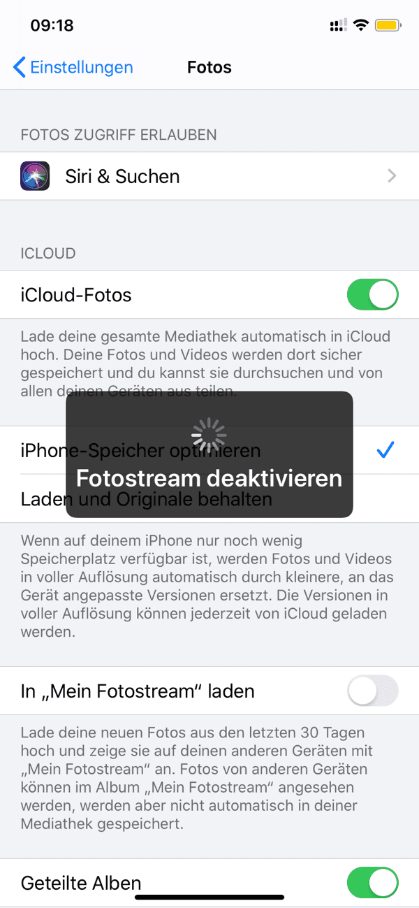 iPhone Fotostream deaktivieren