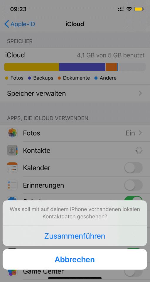 iPhone Kontakte zusammenführen mit iCloud