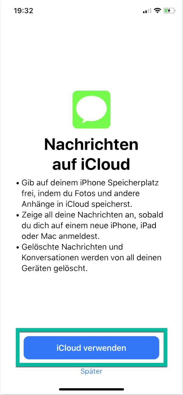 iPhone Nachrichten auf iCloud