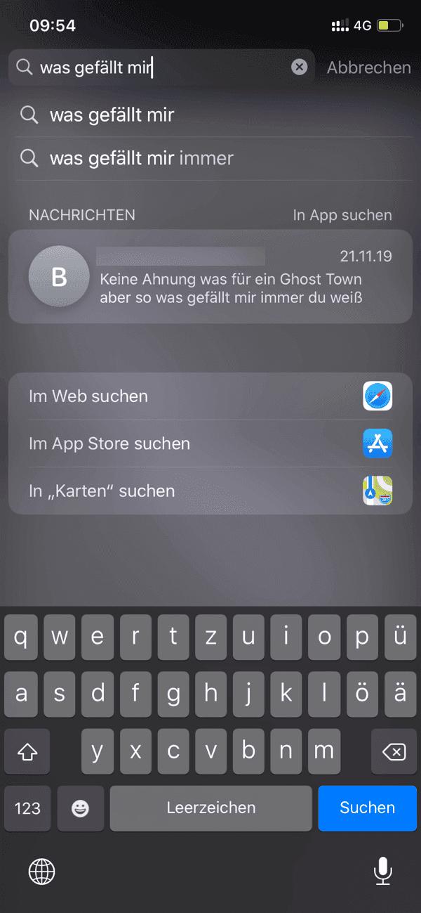 iPhone Nachrichten suchen über Spotlight