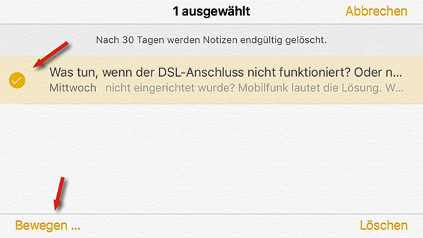 iPhone-Notizen per Notizen-App wiederherstellen