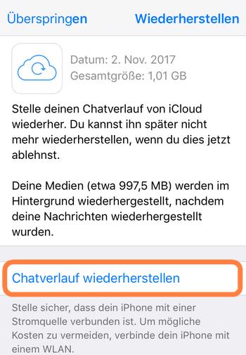 Gelöschte iPhone-WhatsApp-Nachrichten mit iCloud wiederherstellen