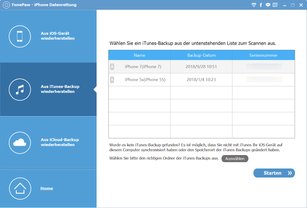 Scannen Sie das iTunes-Backup