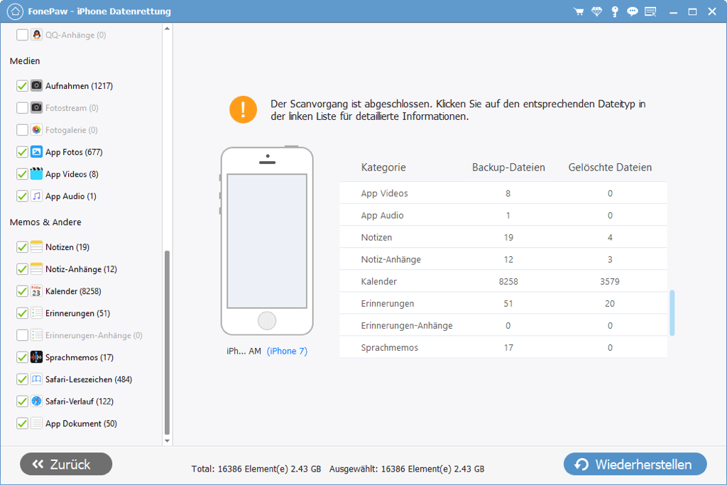 iPhone Daten aus iTunes Backup extrahieren