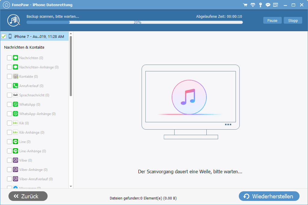 iPhone Backup Kontakte ausscannen