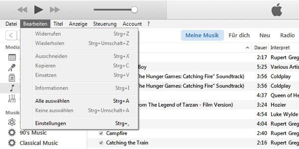 iTunes Einstellungen