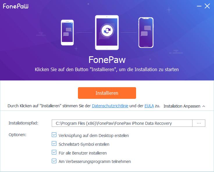 FonePaw Setup Assistent