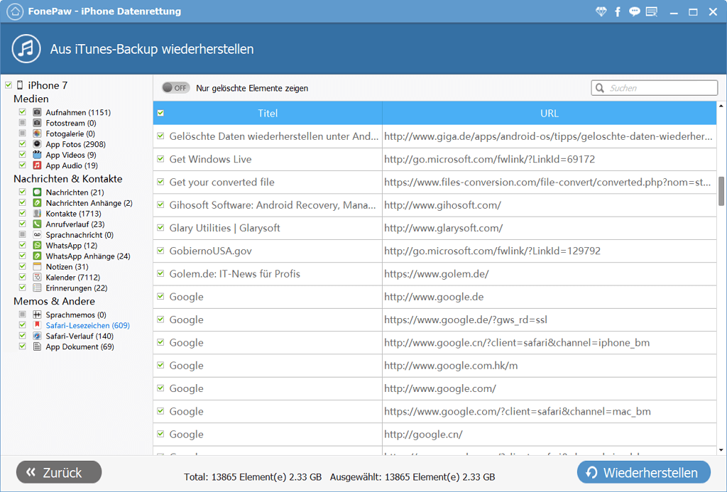 Safari Lesezeichen extrahieren aus iTunes Backup