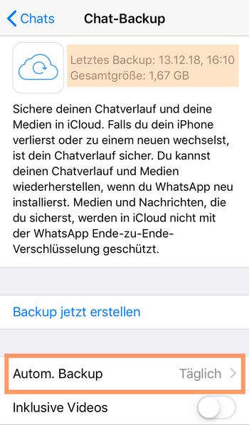 WhatsApp-Backup auf iCloud checken