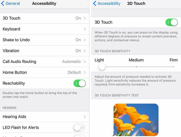 3D Touch einstellen