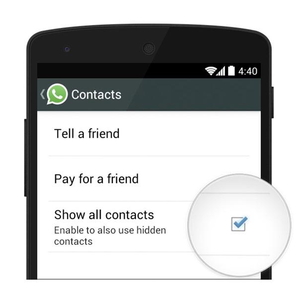 Alle Kontake anzeigen WhatsApp