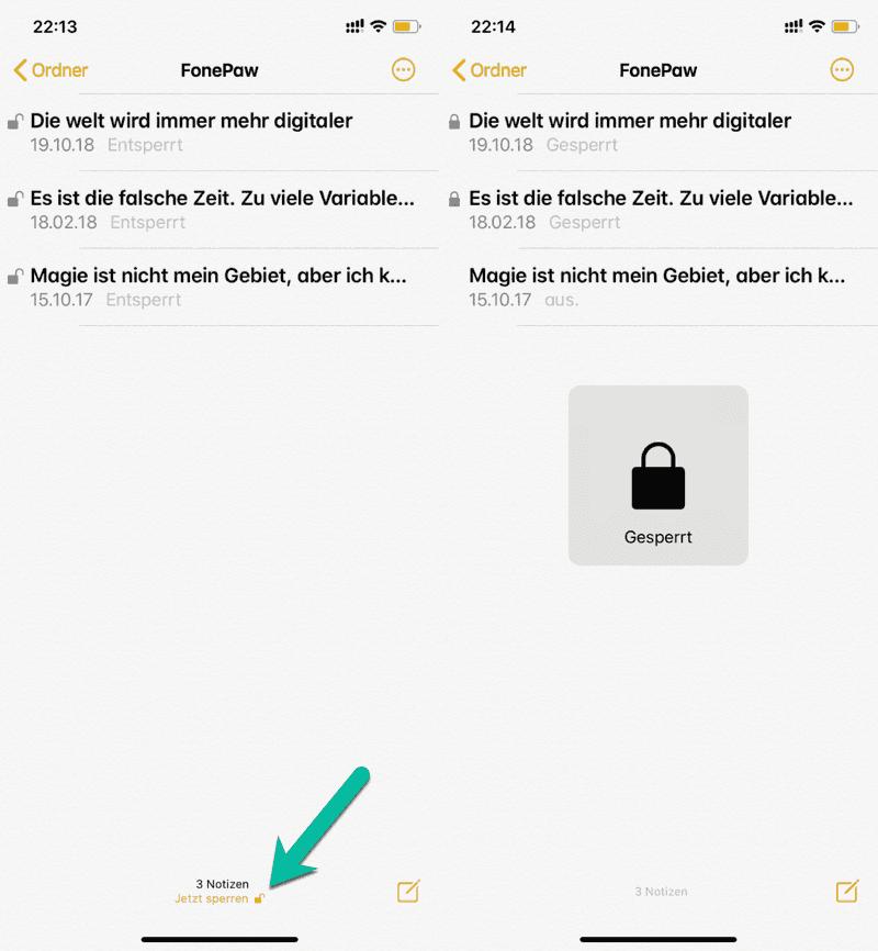 Alle iPhone Notizen auf einmal sperren