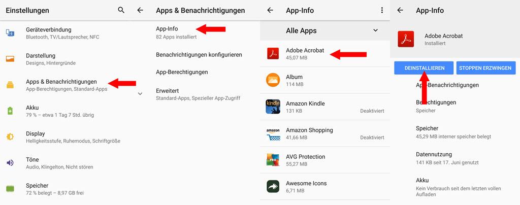 Android Apps deinstallieren
