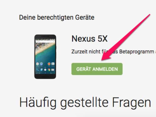 Android-Beta anmelden