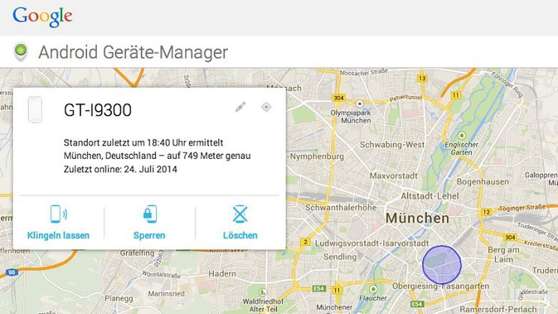 Android-Smartphone per Android Gerät Manager entsperren