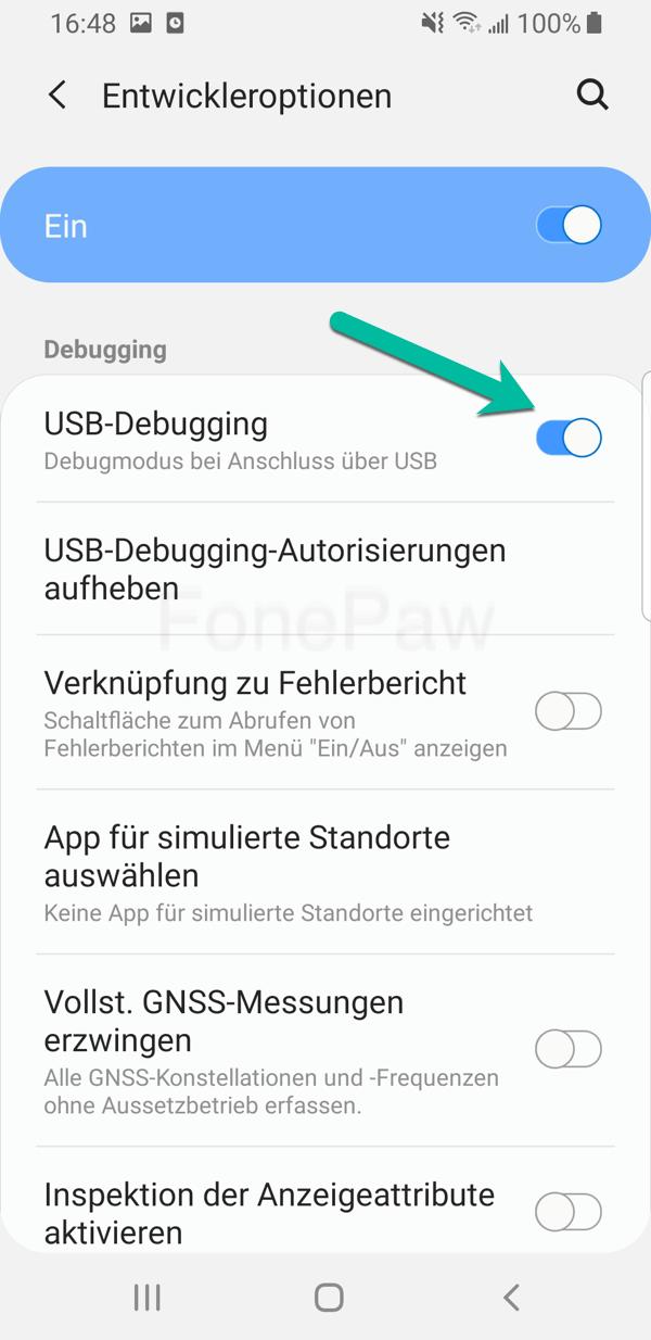 Android USB Debugging deaktivieren