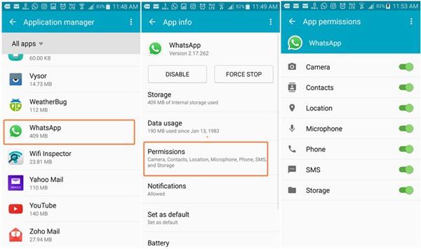 Android-WhatsApp erlauben