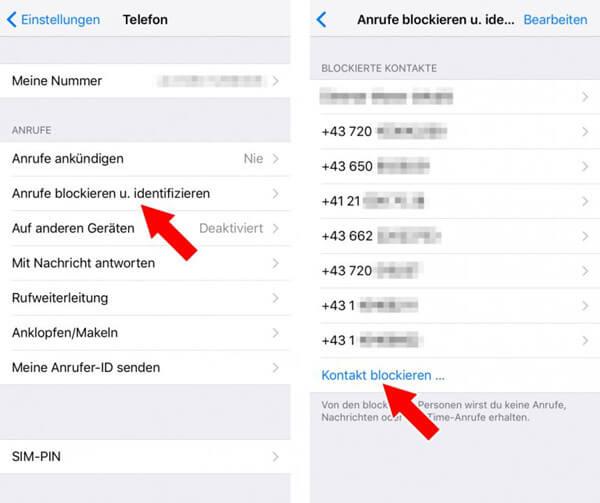 iPhone-Nummer blocken in Einstellungen