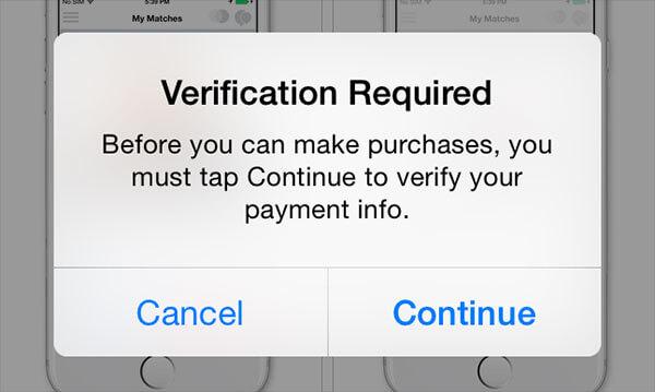 App Store Bestätigung erforderlich