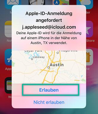 Apple ID Anmeldung angefordert