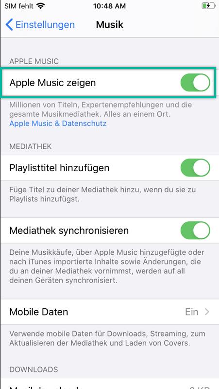 Apple Music zeigen deaktivieren und aktivieren