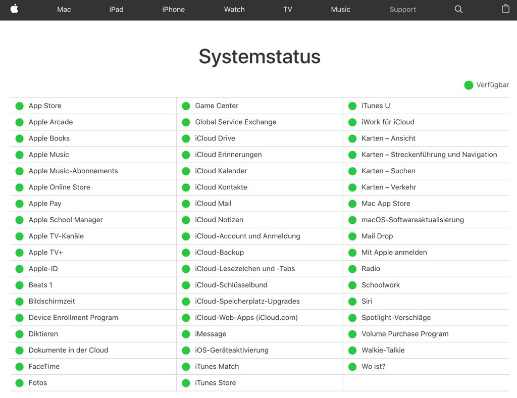 Apple iTunes Store Server überpfüfen