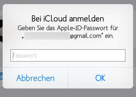iCloud Passwort Abfrage