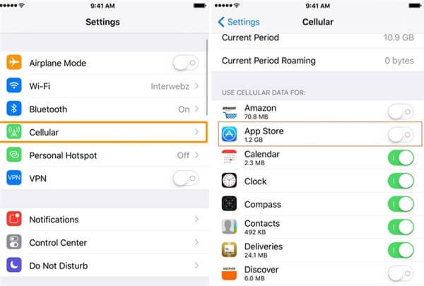 die Nutzung von zellularer Netzwerkverbindung für App Store erlauben