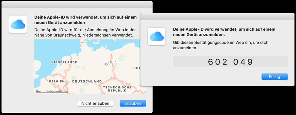 Bestätigungscode abrufen Mac