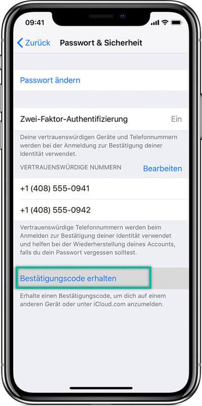 Bestätigungscode erhalten iPhone Einstellungen