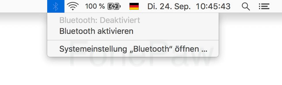 Mac Bluetooth aus- und einschalten