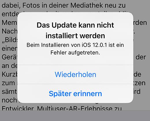 Das iOS Update kann nicht installiert werden