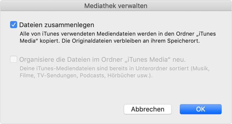 Dateien zusammenlegen iTunes