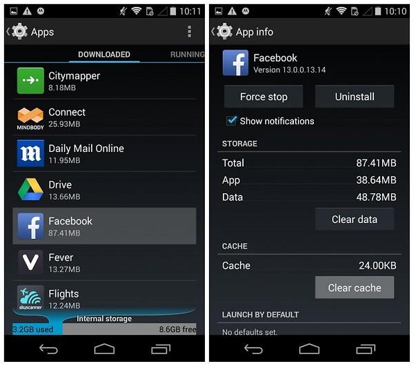 Facebook-Cache auf Android loeschen