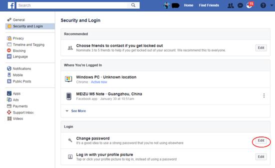 Facebook-Passwort zurücksetzen