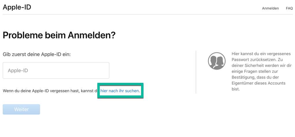 Nach der Apple ID suchen