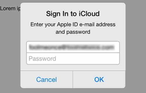 iCloud-Anmelden Meldung