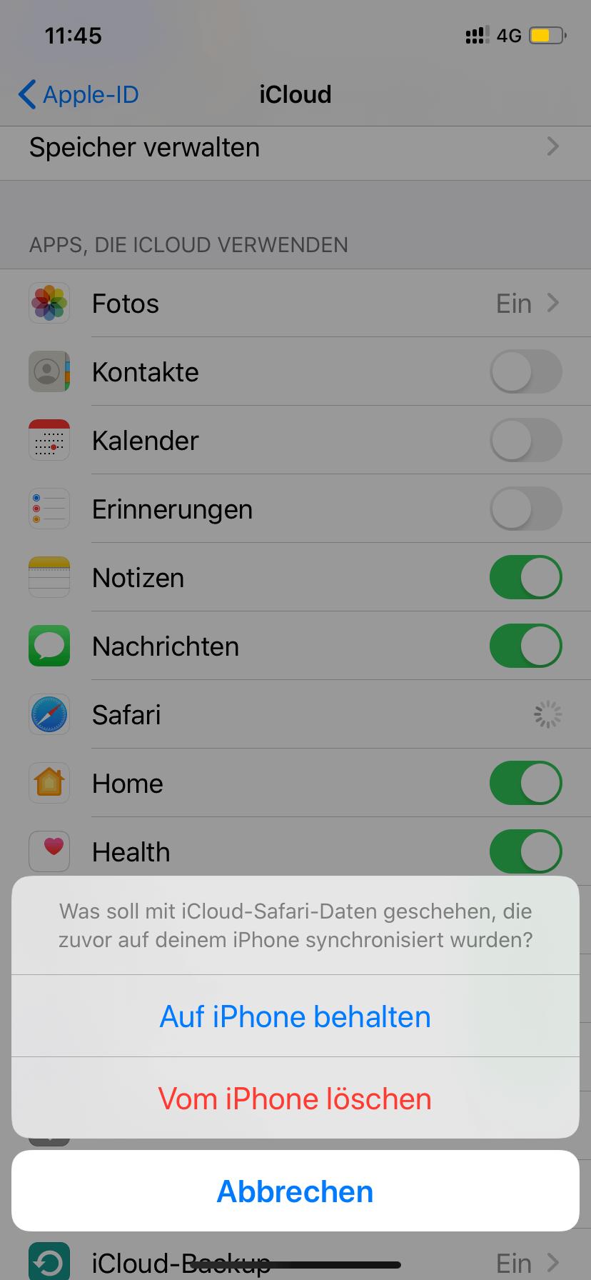 iCloud Apps deaktivieren