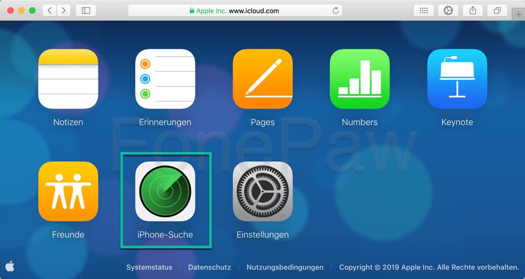 iPhone-Suche in iCloud öffnen