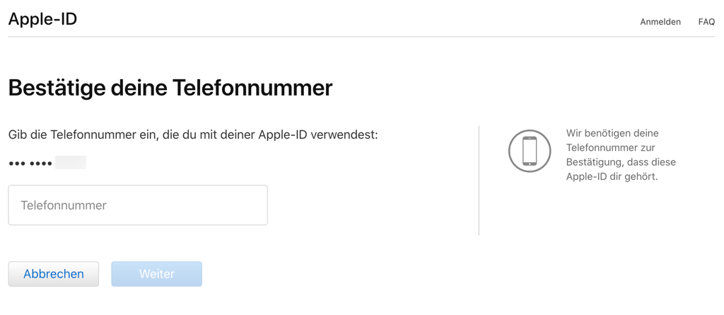 Apple ID zurücksetzen über Telefonnummer