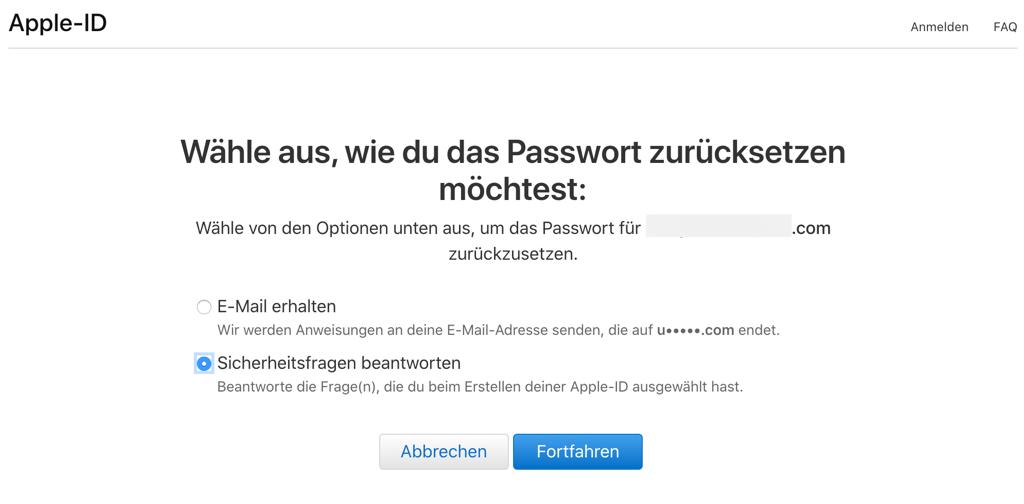 iCloud Passwort zurücksetzen indem Sie Sicherheitsfragen beantworten